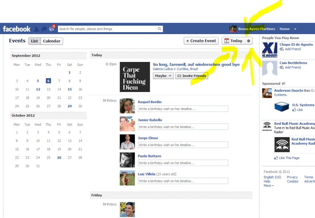 Facebook suggested events eventos sugeridos