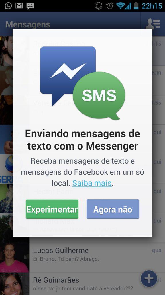 Facebook incorpora SMS no aplicativo de mensagens