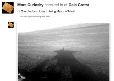 Missão Curiosity faz o primeiro check-in no Foursquare em... Marte