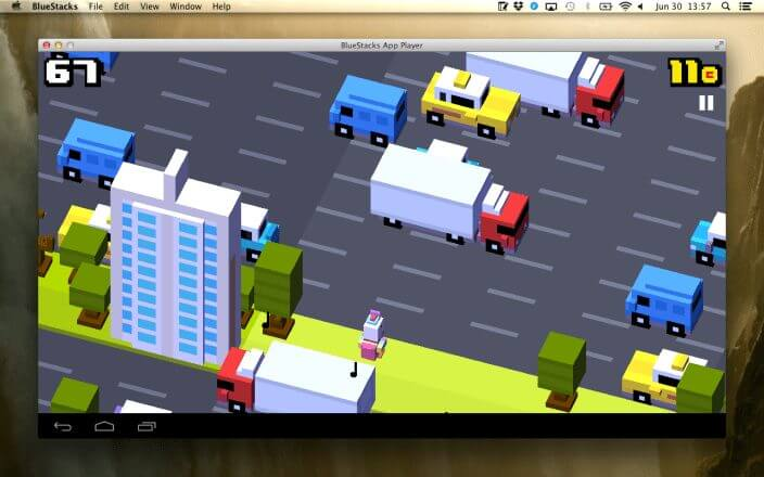 crossy road on mac with bluestacks