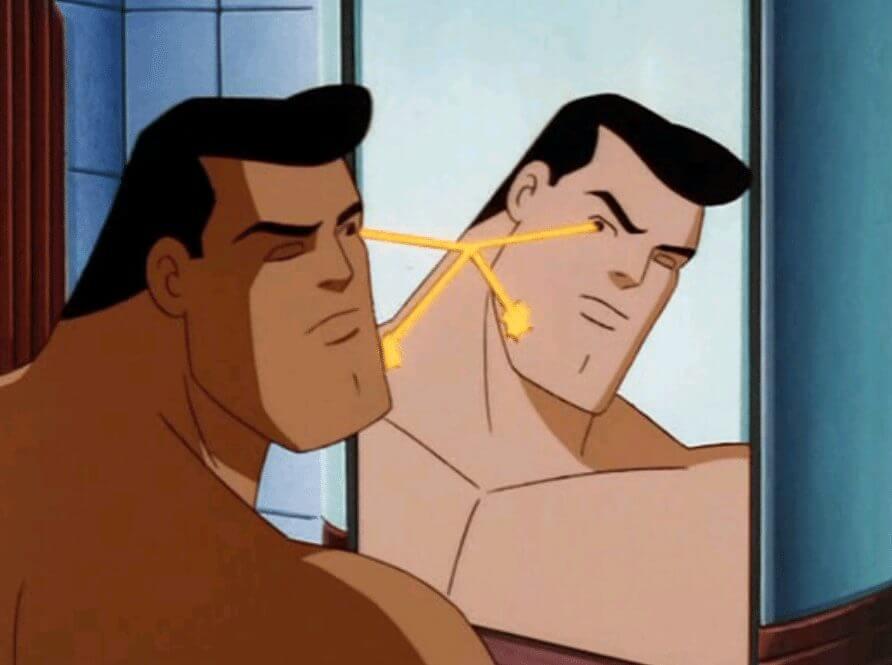 superman fazendo a barba