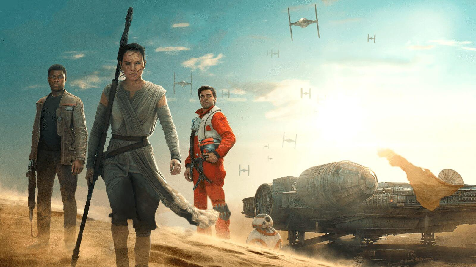 star wars episode vii the force awakens hd wallpaper finn rey and poe