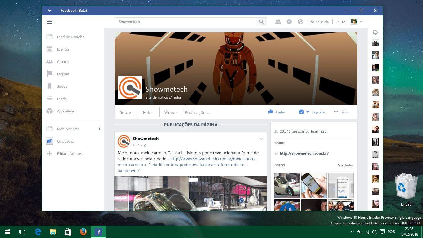 Acesso ao Facebook Beta para Windows 10 é liberado para todos os usuários