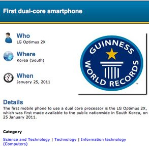 LG Optimus 2X Guinness Book