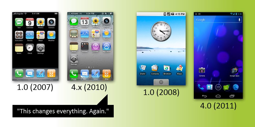 3 years ios android1 - iOS x Android: o que mudou no layout desde 2007