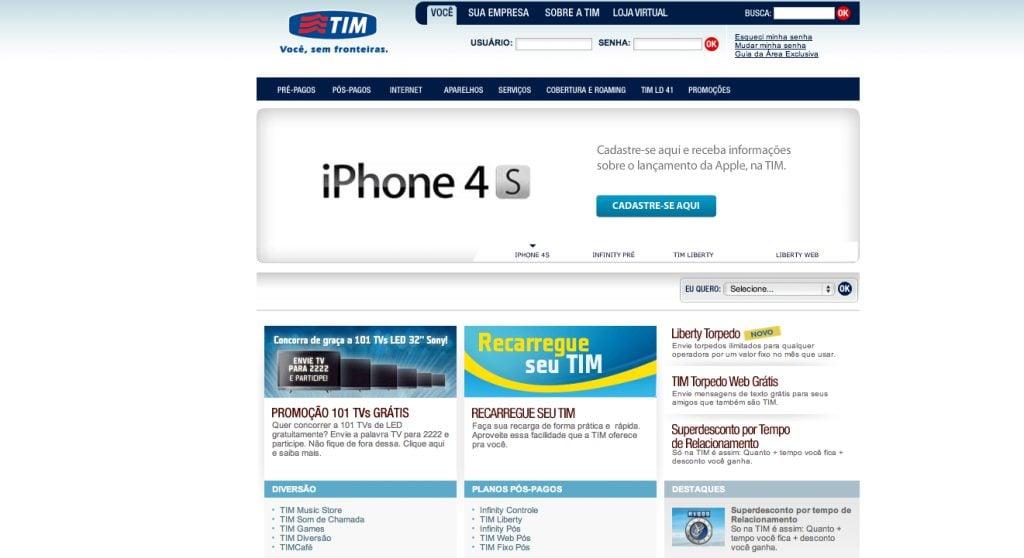 Captura de Tela 2011 11 24 às 23.20.45 - iPhone 4S aparece no site da TIM Brasil