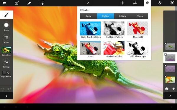 Adobe lança photoshop touch para tablets android. A adobe lançou no android market sua versão do photoshop para tablets com android: o photoshop touch. O novo photoshop touch faz parte da família de aplicativos touch apps, voltadas para tablets, e traz algumas das funcionalidades do software para pcs que podem ser editadas com a praticidade de uma tela com interface sensível ao toque. O aplicativo trabalha com camadas, ajustes, seleções, aplicação de filtros, sendo possível a utilização da câmera para capturar imagens e editar ali mesmo...