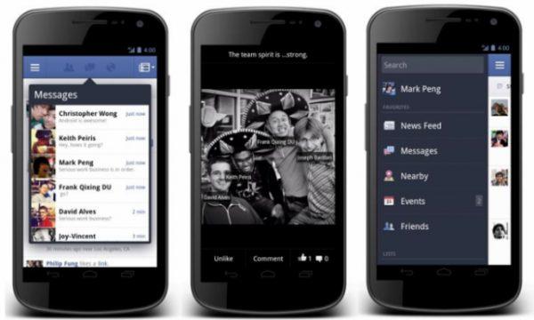 Facebook para o android ganha nova atualização. O aplicativo do facebook para o android ganhou uma repaginada completa. A nova versão, além de acelerá-lo, adota muitas das características recentemente apresentadas na versão mobile do site, bem como app do facebook para o ios. Ele está mais rápido para a visualização de fotos, mensagens e navegação em geral.