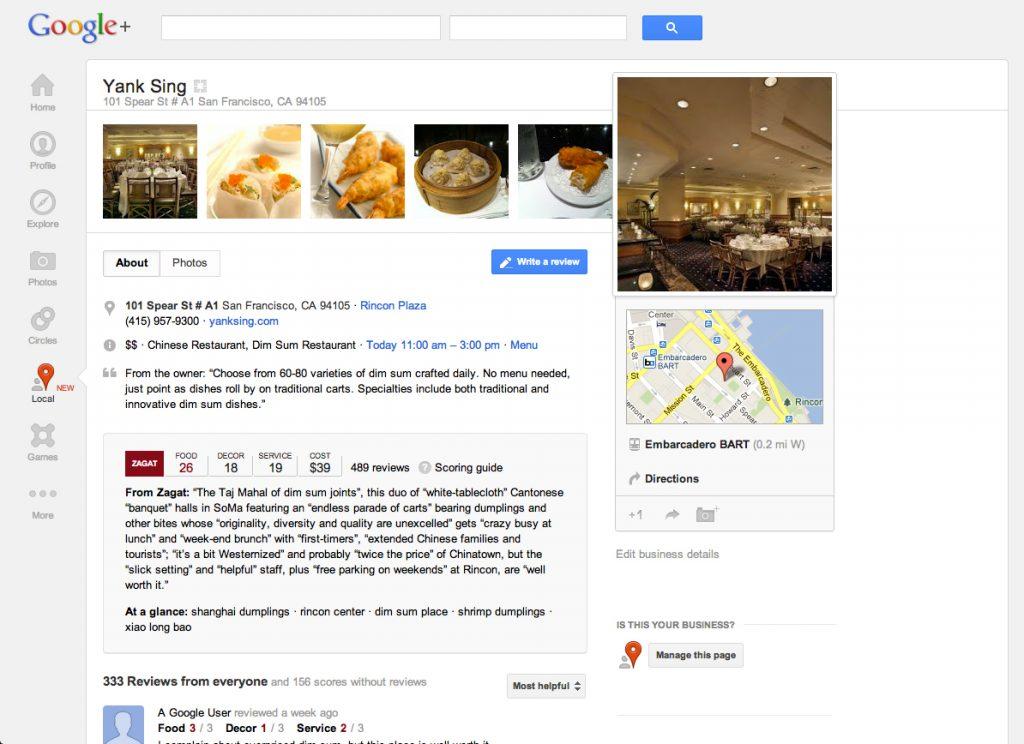 Yank Sing - Primeiras impressões do novo recurso Google+ Locais