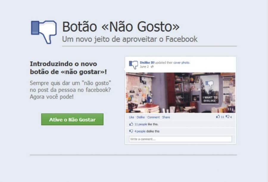 Botão Dislike no Facebook é falso