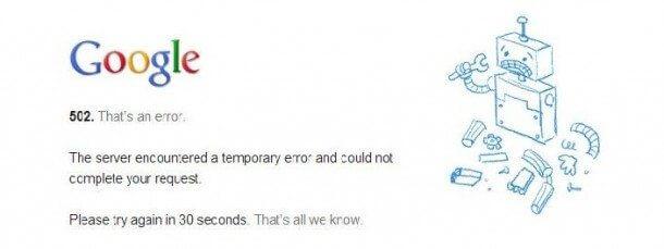 Aviso de erro ao tentar carregar a página brasileria do google1 610x2291 - Google cai e usuários reclamam na internet