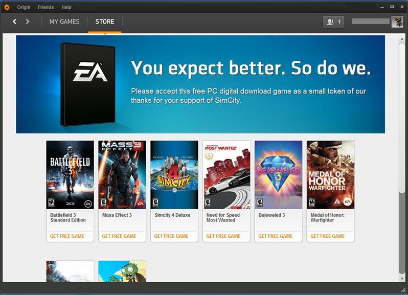 EA Free Game 2 - Compradores do novo SimCity ganham jogos extras para compensar problemas com servidores