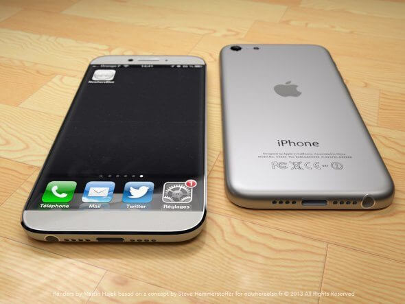the silver and white model reminds us of the original iphone slimmed down - Como seria um iPhone 6 inspirado no iPad Mini?