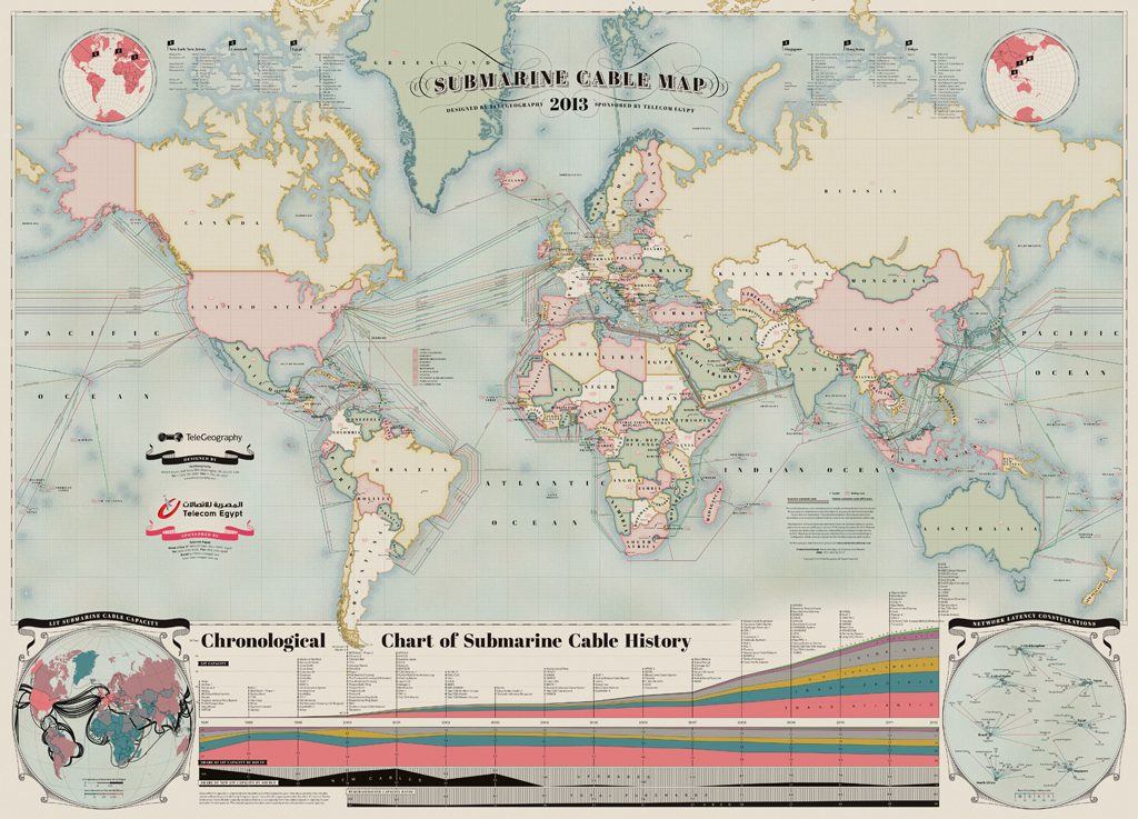 """submarine cable map 2013 l - Você sabe como a internet """"viaja"""" de um continente para o outro?"""