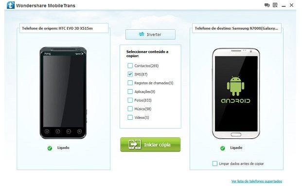 Wondershare mobiletrans ajuda a transferir dados entre smartphones