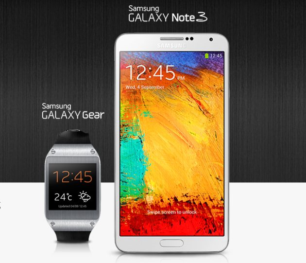 galaxy gear and note 3 630x541 - TIM divulga preço do Galaxy Note 3, novo phablet da Samsung