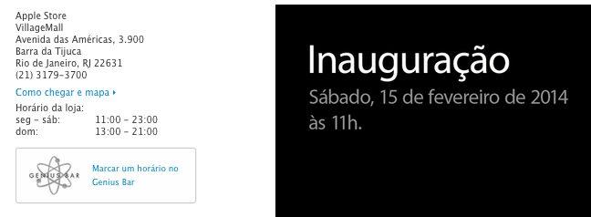 Aviso de inauguração da Apple Store no Rio / reprodução