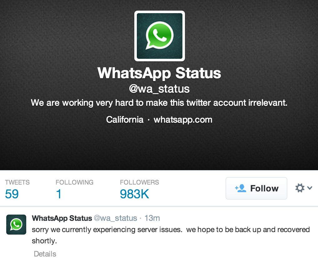 WhatsApp confirma falha através de conta no Twitter