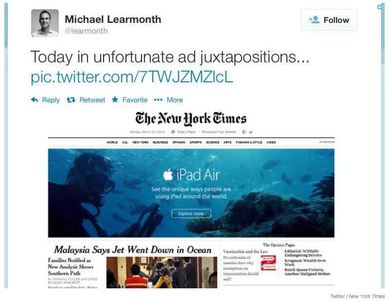 Imagem do anúncio e da reportagem sobre o avião desaparecido capturada no Twitter / reprodução