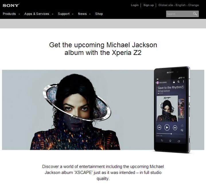 Sony Xperia Z2 virá com novo álbum de Michael Jackson