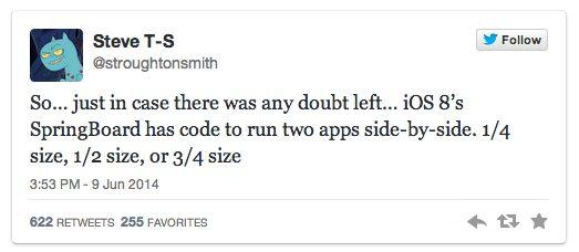 Twitter do desenvolvedor steven troughton-smith sobre a tela multitarefa / reprodução twitter