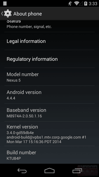 Nexus 5 Android 4.4.4 Update KTU84P
