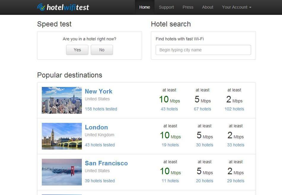Descubra a qualidade da internet dos hotéis