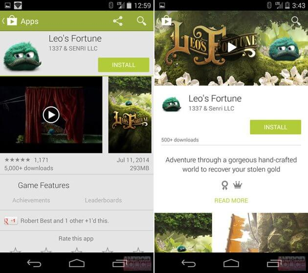updatedplaystorephoneaam Android L Material Design