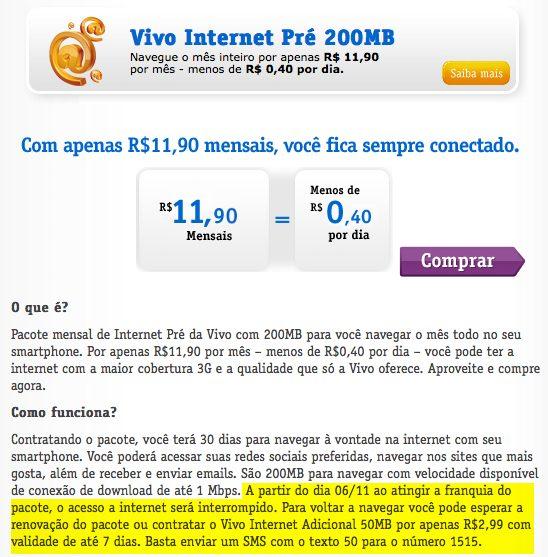 Exemplo: plano Vivo internet Pré 200MB (São Paulo)