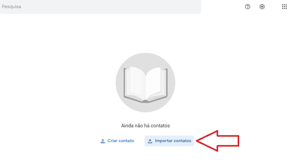 Página do Google Contatos