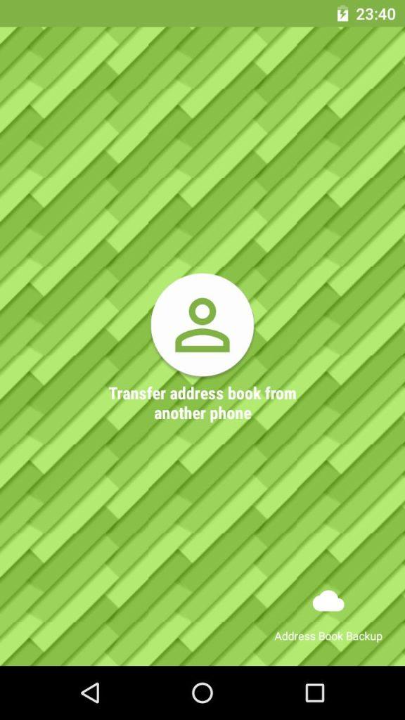 Tela do app para transferir contato entre Android e iPhone Move Contacts Transfer/Backup