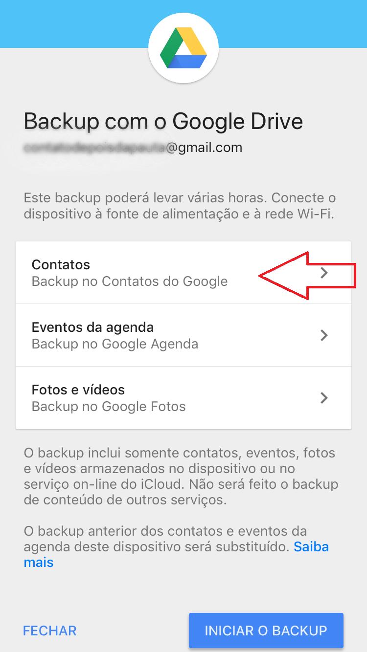 Passo a passo para transferir contato do iPhone e Android pelo Drive