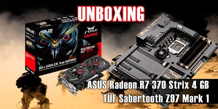 unboxing asus sabertooth z97 mark 1 e asus radeon r7 370 4gb strix