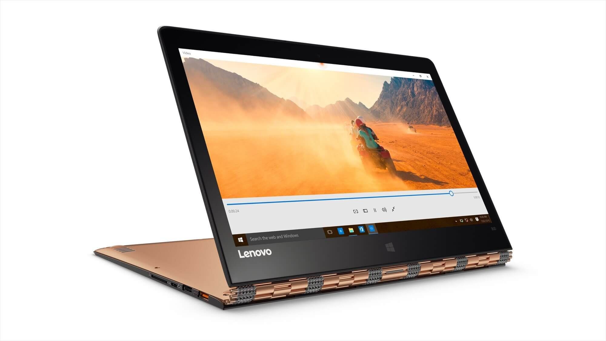 YOGA 900 showing watchband hinge screen in stand mode Champagne Gold