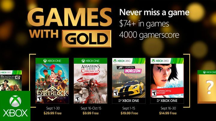 Games With Gold Setembro 2016
