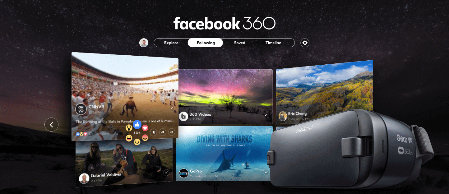Facebook 360 Headset Grid - Facebook 360 chega para Samsung Gear VR e garante experiência 360° completa