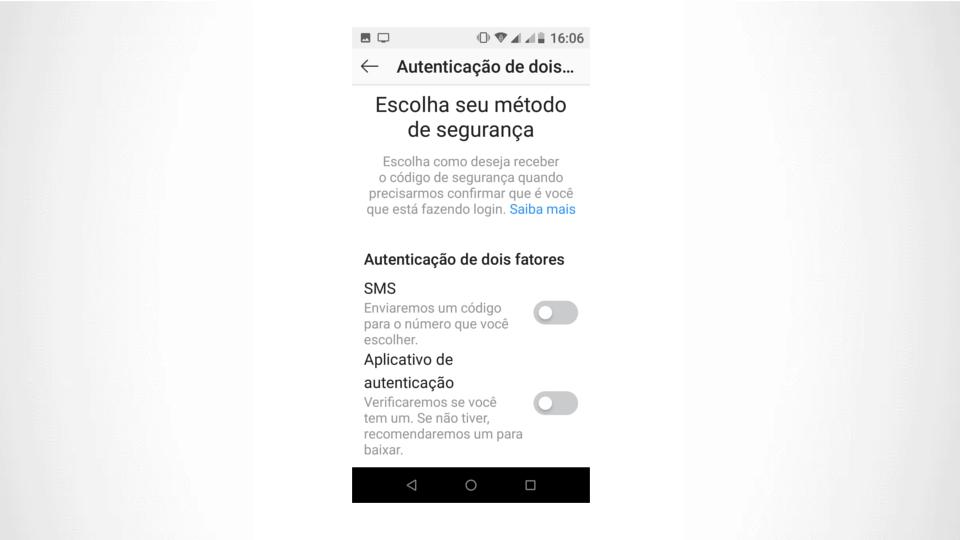 Opção de validação no Instagram: SMS ou app