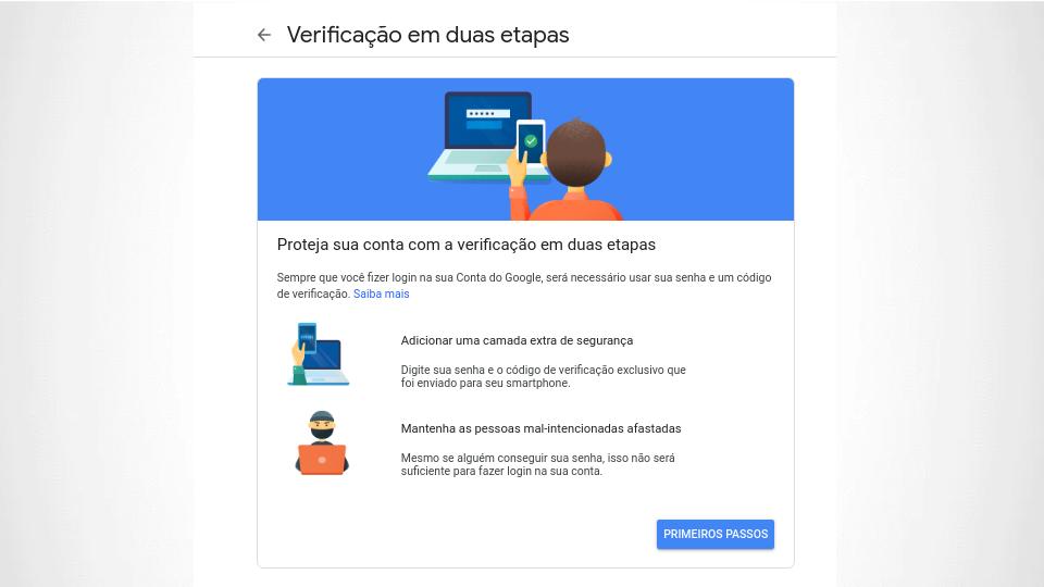 Google verificação em duas etapas abertura