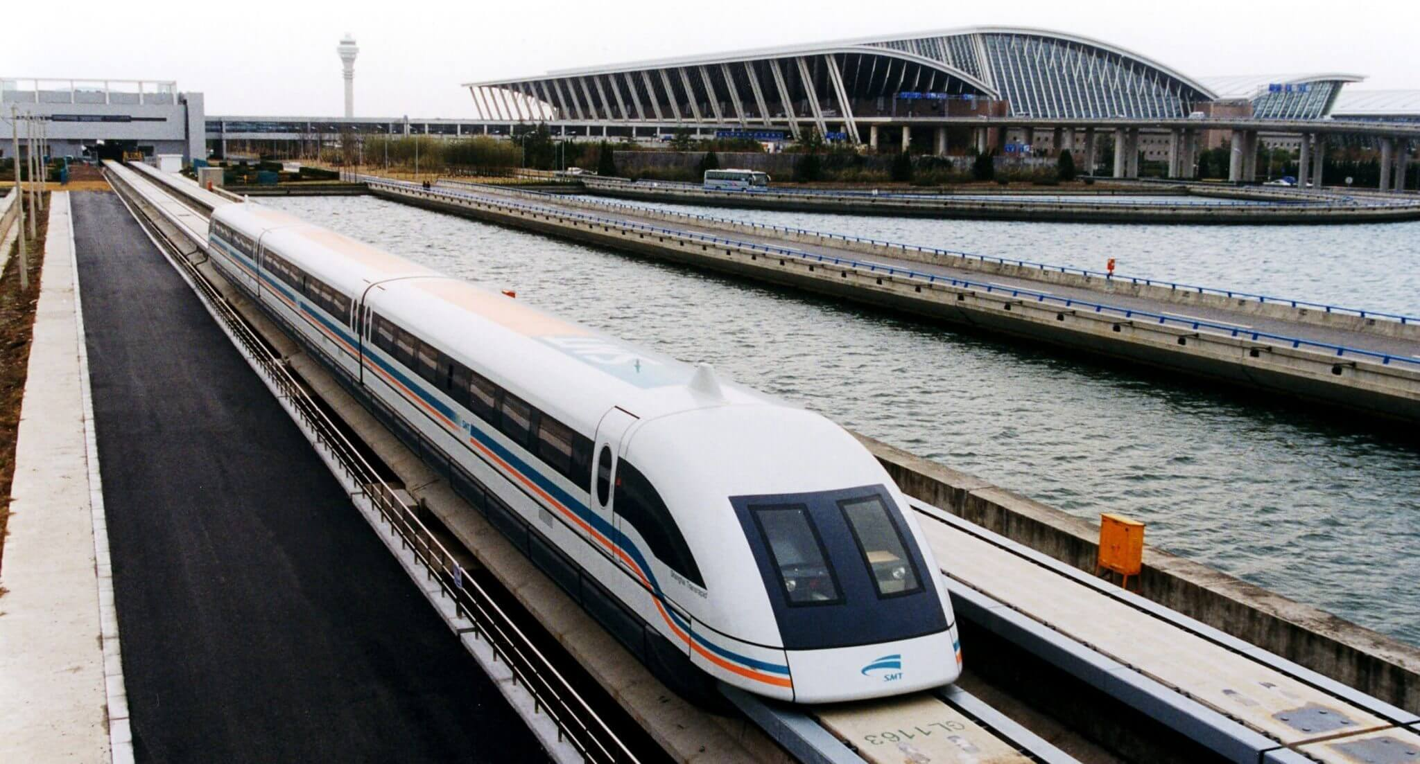 A maglev train coming out Pudong International Airport Shanghai