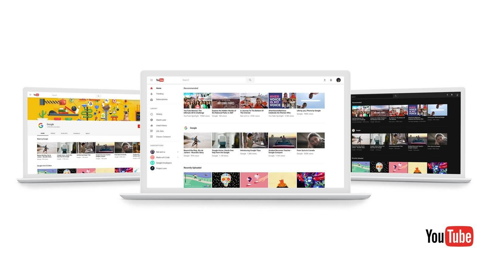 YouTube anuncia modo escuro e redesign do site