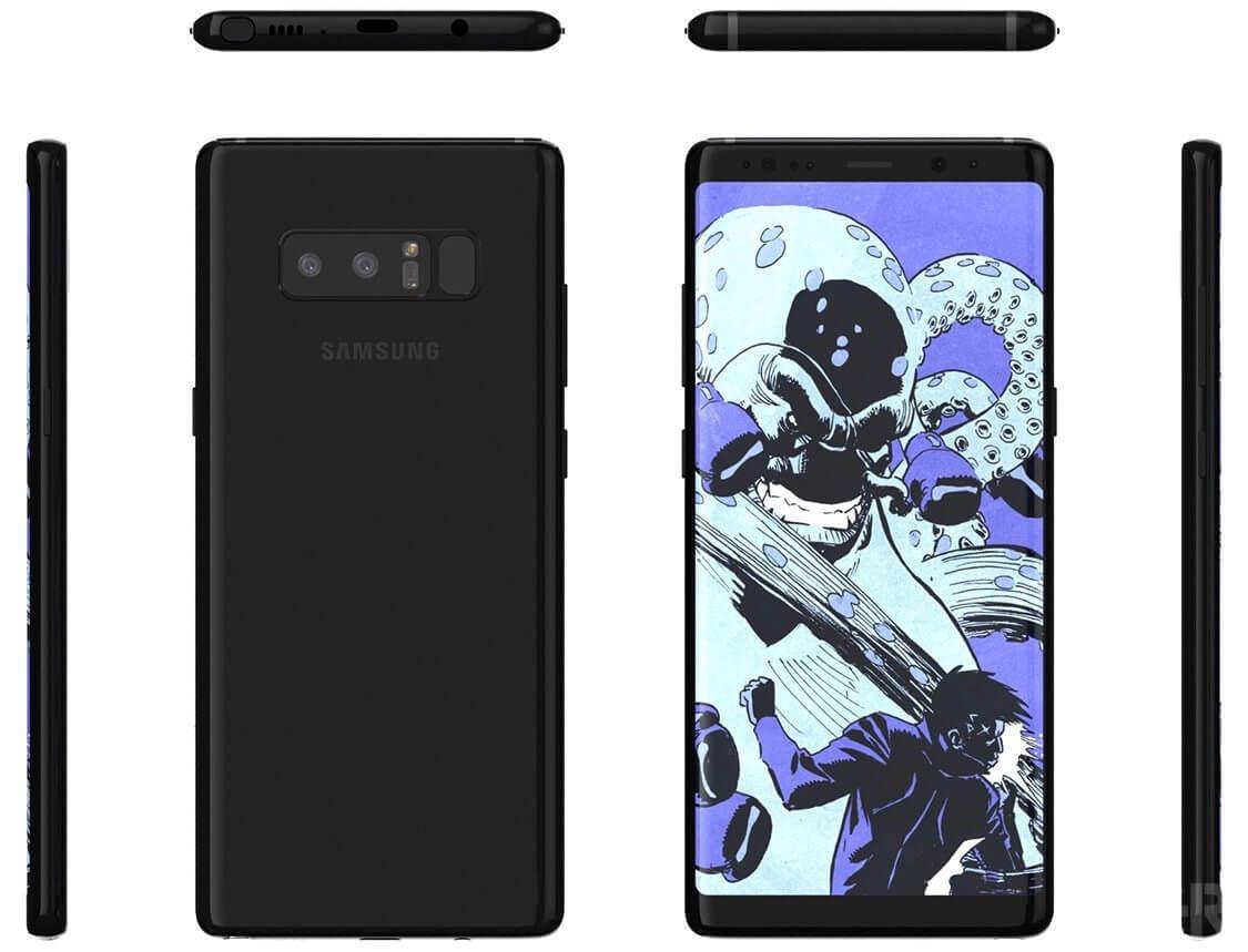 Novo render mostra como será o Samsung Galaxy Note 8