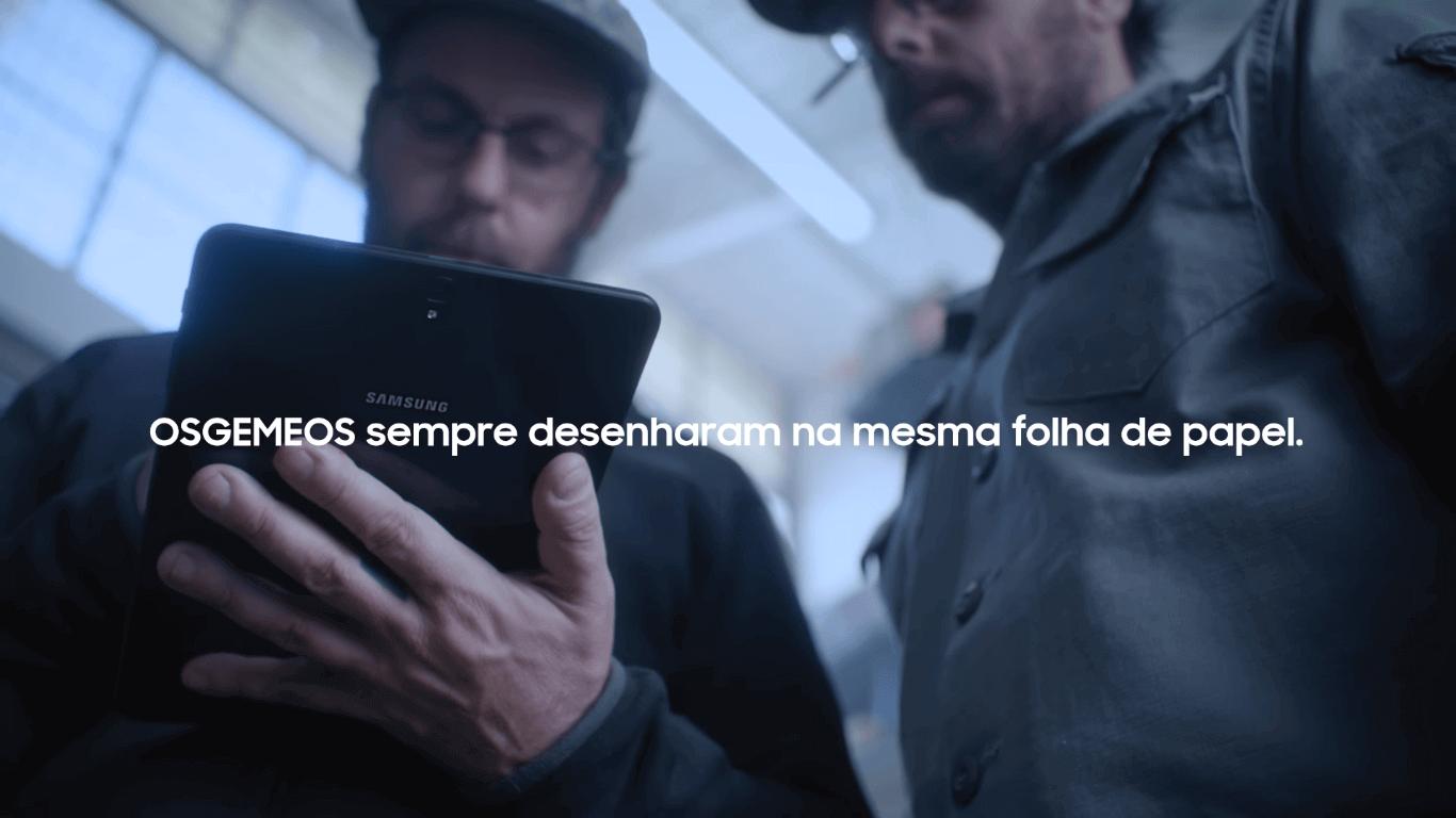 Samsung lança campanha para o galaxy tab s3 com osgemeos