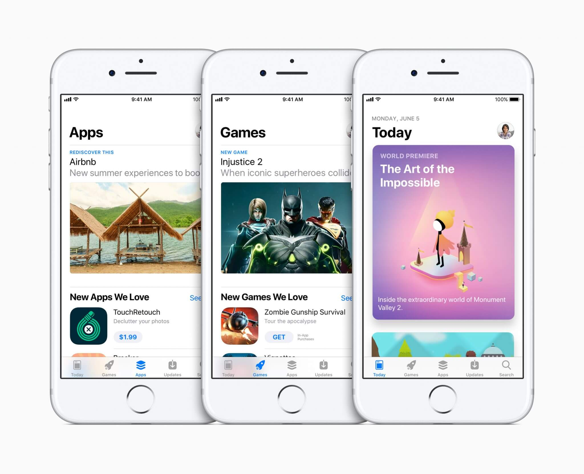 new app store three iphones apps games today