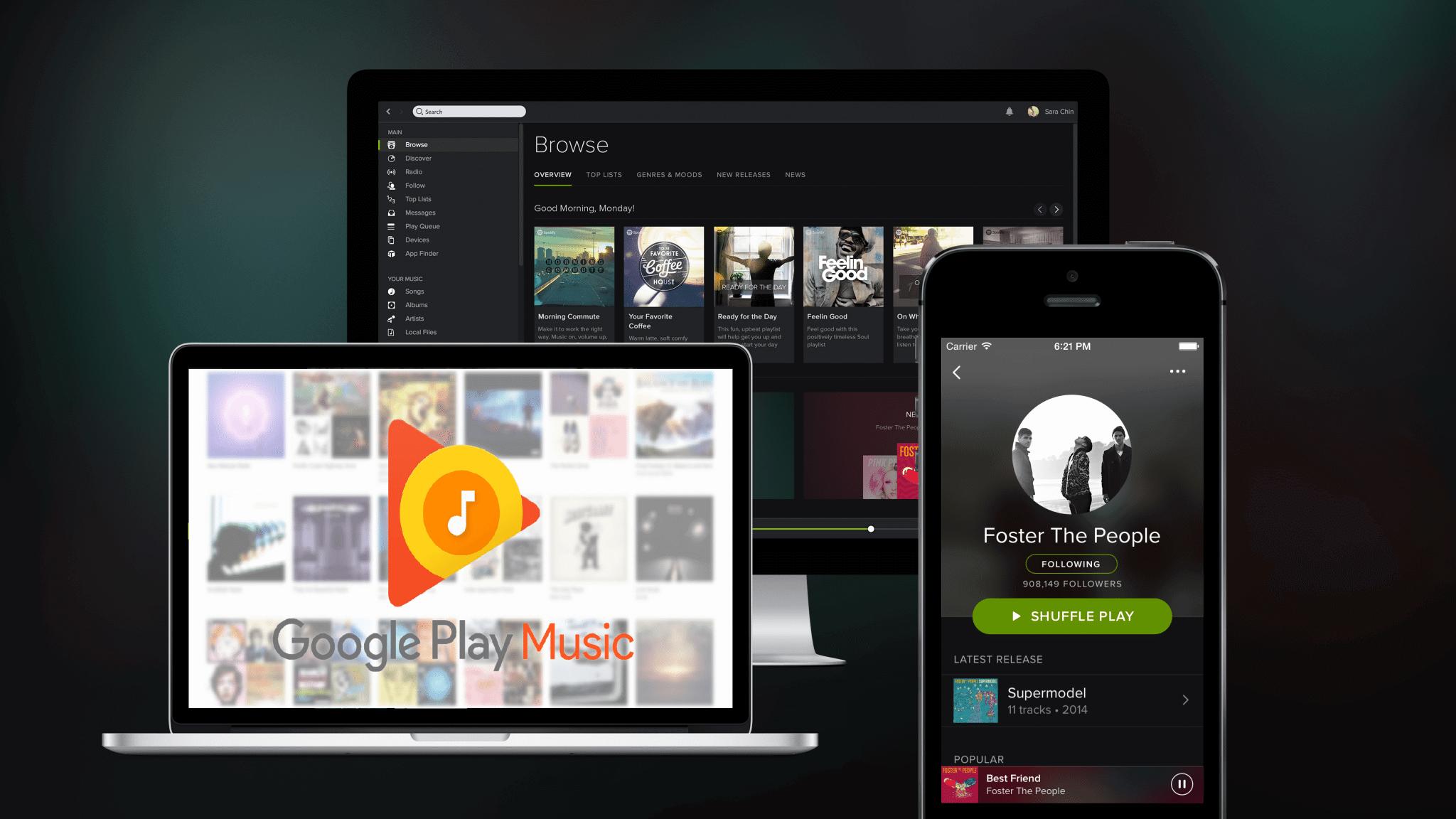 spotify Google music apps