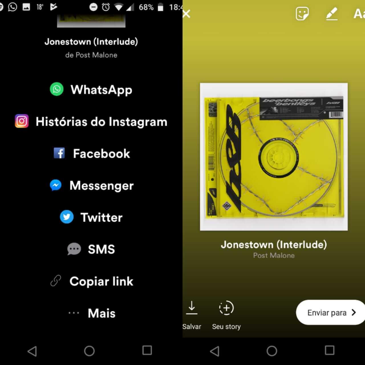 Como compartilhar músicas do spotify no instagram. Em segundos, você vai compartilhar com todos seus amigos a música que você está ouvindo no spotify através do seu instagram! Quer saber como? Vem com a gente!