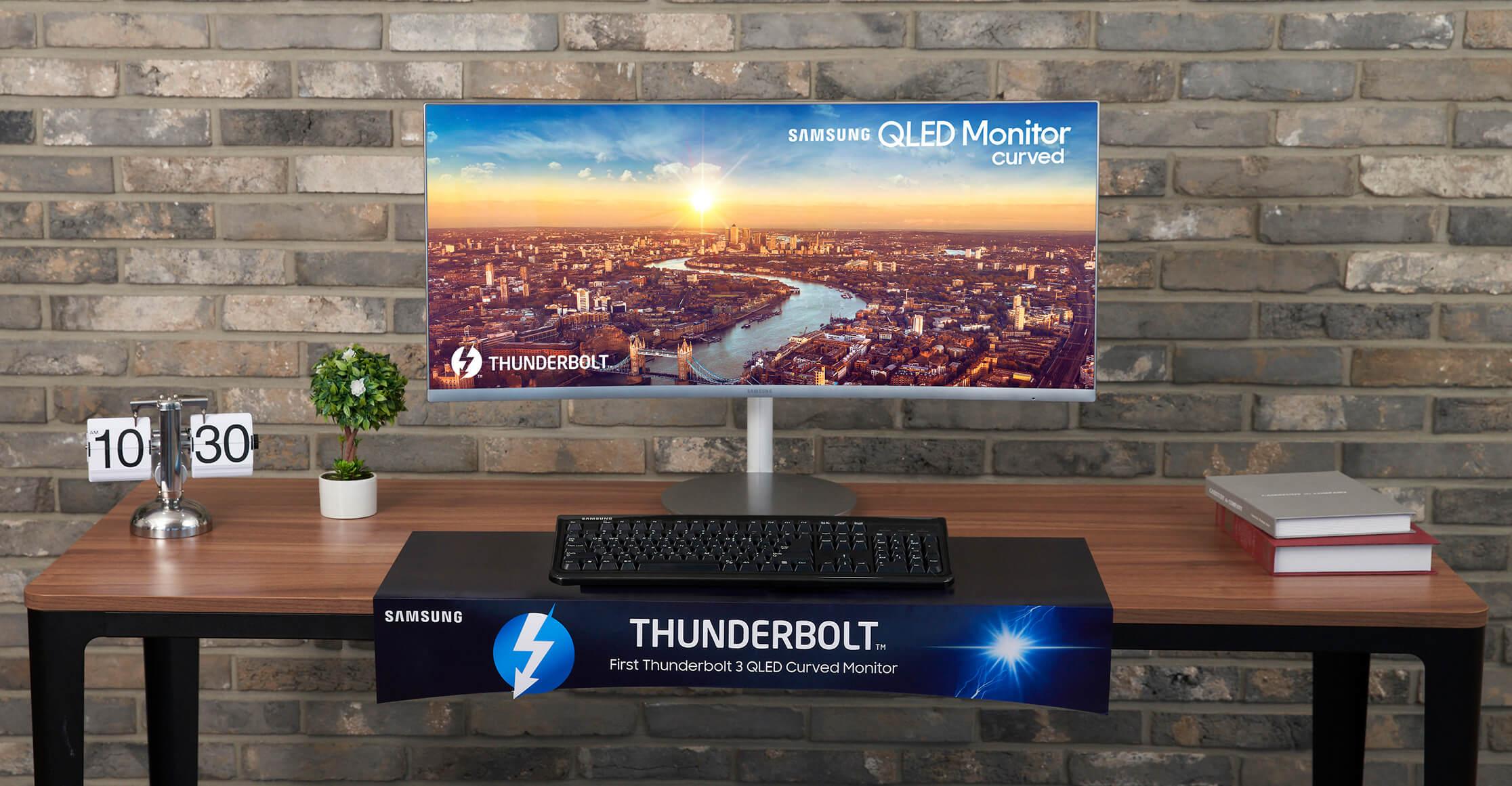 Imagem de divulgação do cj79, novo monitor de tela curva da samsung lançado durante a ifa 2018
