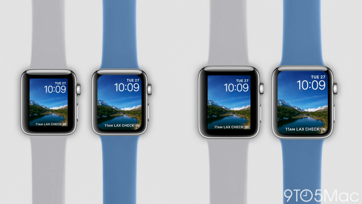 Mockup do novo Apple Watch comparado com o anterior feito pelo site 9to5Mac