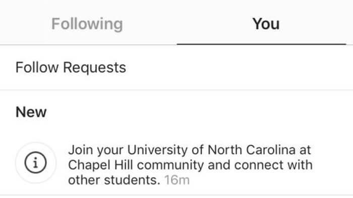 Convite para ingressar em uma comunidade universitária no Instagram