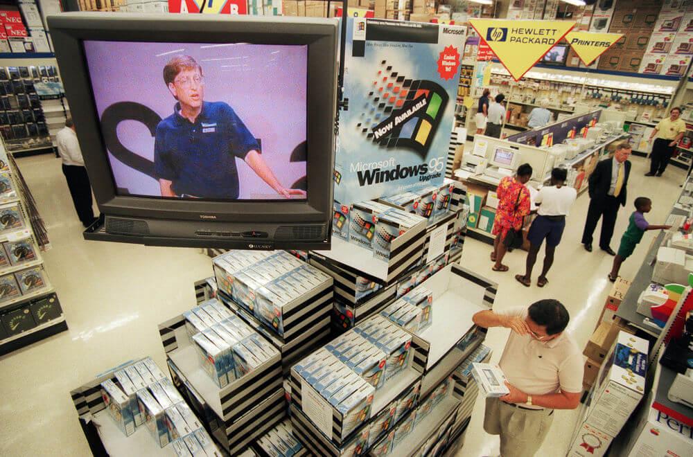 Anúncio do Windows 95 em lojas físicas americanas