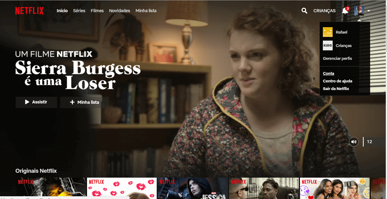 Página inicial do serviço de streaming Netflix para começar a limitar a reprodução de conteúdo inapropriado para crianças.